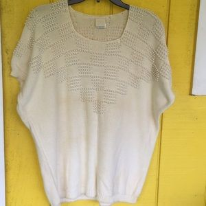 Pearled checkered design knit top